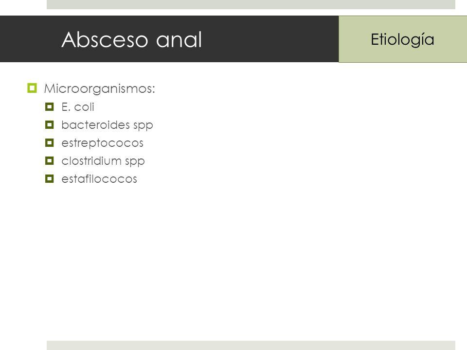 Absceso anal Microorganismos: E.