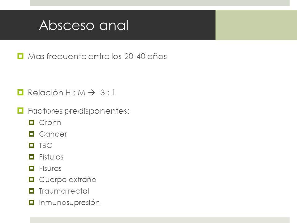Absceso anal Mas frecuente entre los 20-40 años Relación H : M 3 : 1 Factores predisponentes: Crohn Cancer TBC Fístulas Fisuras Cuerpo extraño Trauma rectal Inmunosupresión