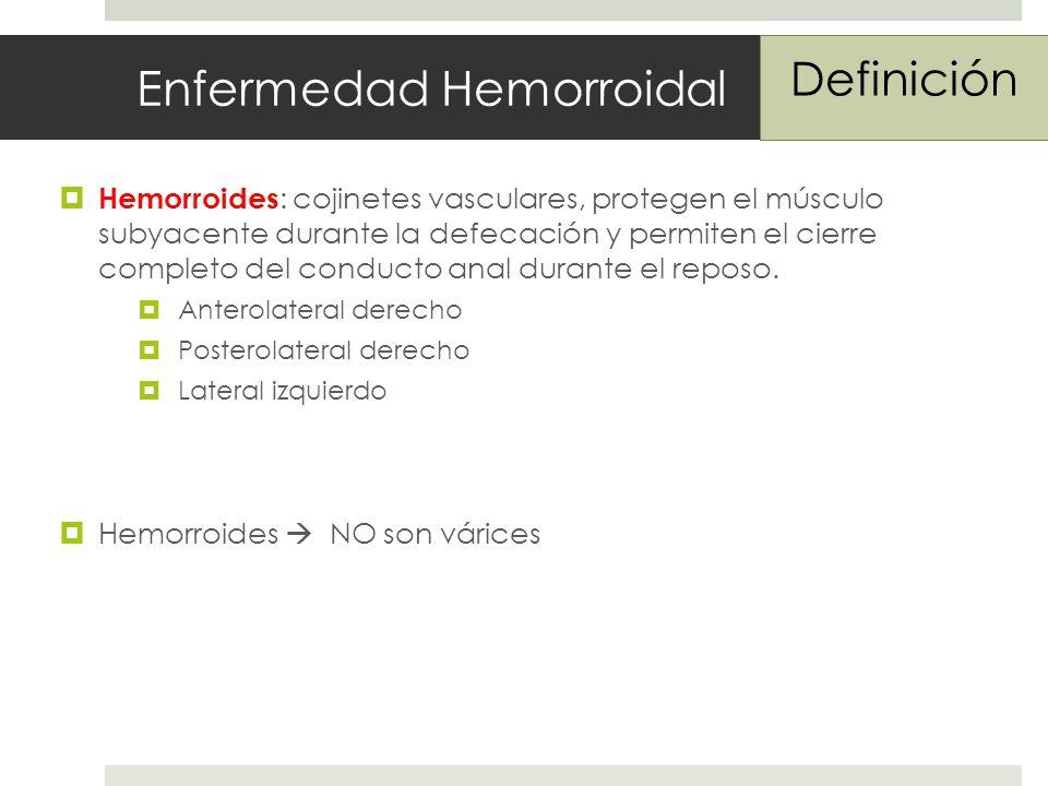 Enfermedad Hemorroidal Hemorroides : cojinetes vasculares, protegen el músculo subyacente durante la defecación y permiten el cierre completo del conducto anal durante el reposo.