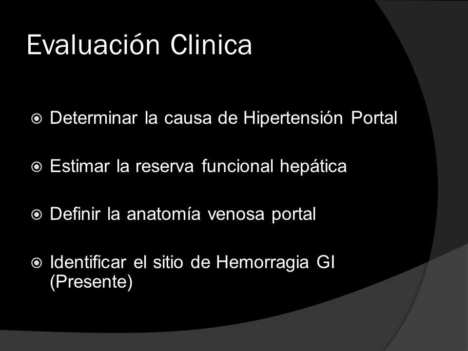 Evaluación Clinica Determinar la causa de Hipertensión Portal Estimar la reserva funcional hepática Definir la anatomía venosa portal Identificar el s