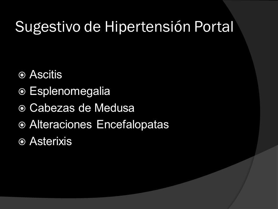 Sugestivo de Hipertensión Portal Ascitis Esplenomegalia Cabezas de Medusa Alteraciones Encefalopatas Asterixis
