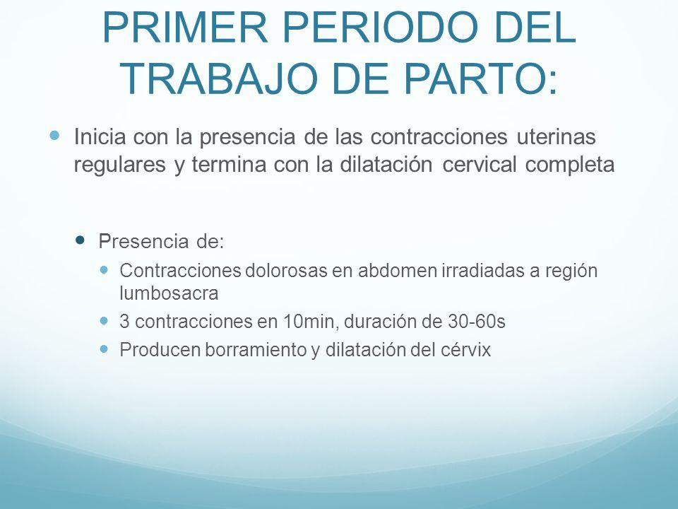 PRIMER PERIODO DEL TRABAJO DE PARTO: Inicia con la presencia de las contracciones uterinas regulares y termina con la dilatación cervical completa Pre