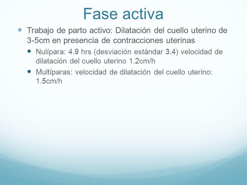 Fase activa Trabajo de parto activo: Dilatación del cuello uterino de 3-5cm en presencia de contracciones uterinas Nulípara: 4.9 hrs (desviación están