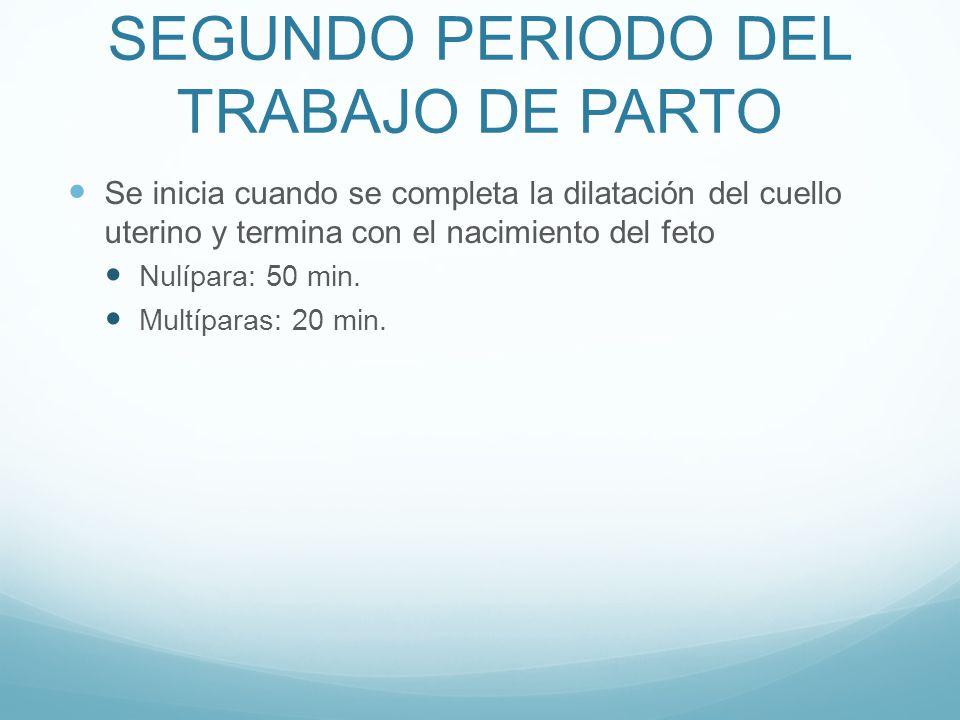 SEGUNDO PERIODO DEL TRABAJO DE PARTO Se inicia cuando se completa la dilatación del cuello uterino y termina con el nacimiento del feto Nulípara: 50 m