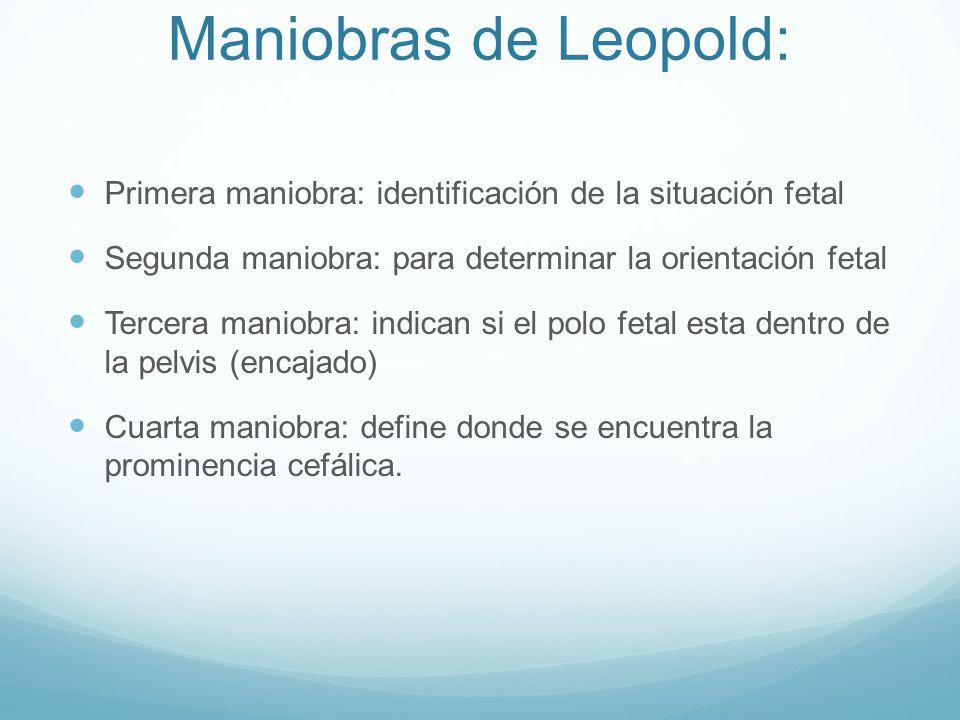 Maniobras de Leopold: Primera maniobra: identificación de la situación fetal Segunda maniobra: para determinar la orientación fetal Tercera maniobra: