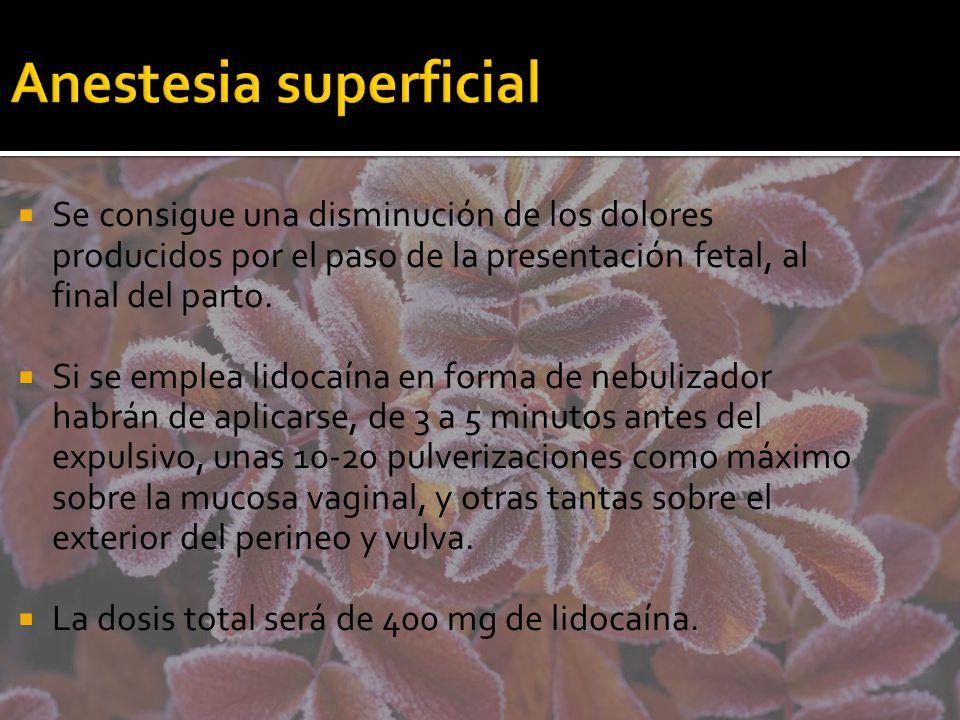 Anestesia superficial Se consigue una disminución de los dolores producidos por el paso de la presentación fetal, al final del parto. Si se emplea lid
