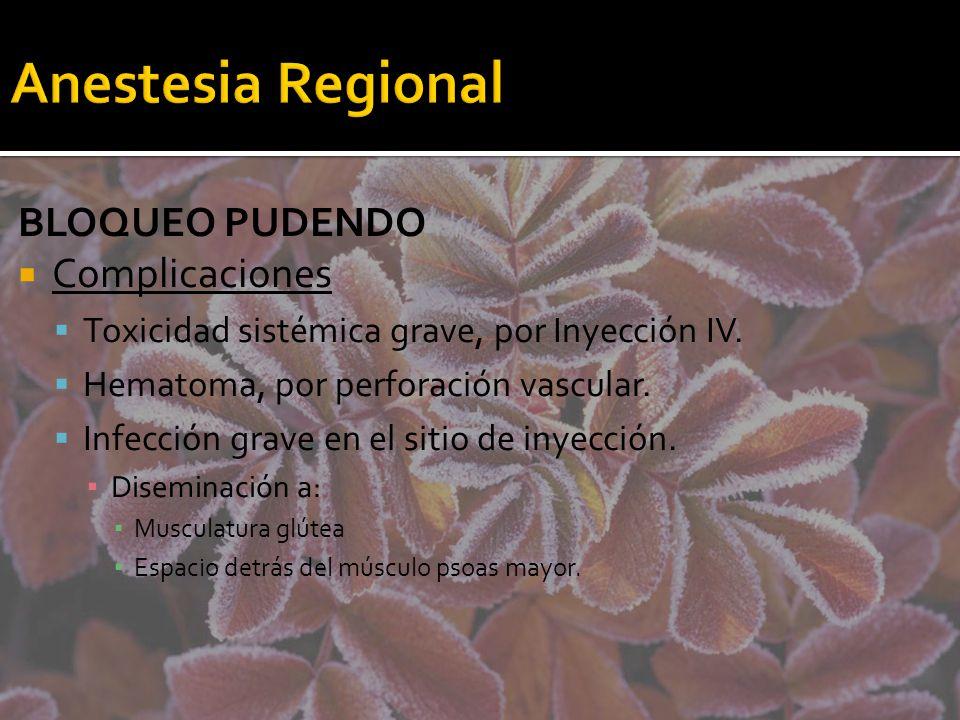 Anestesia Regional BLOQUEO PUDENDO Complicaciones Toxicidad sistémica grave, por Inyección IV. Hematoma, por perforación vascular. Infección grave en