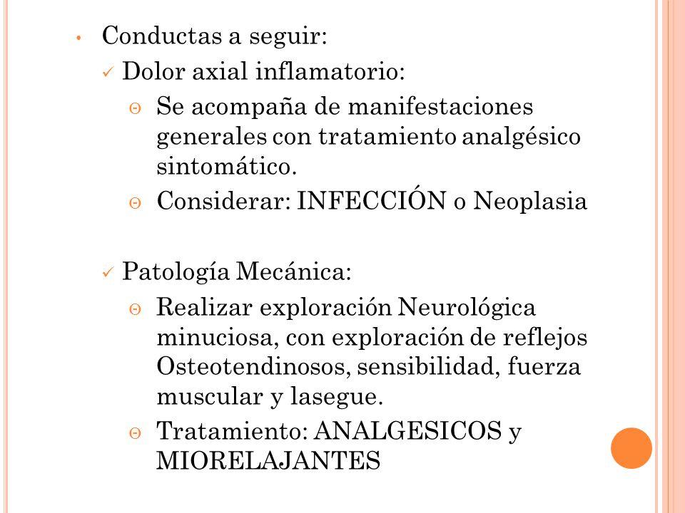Conductas a seguir: Dolor axial inflamatorio: Se acompaña de manifestaciones generales con tratamiento analgésico sintomático. Considerar: INFECCIÓN o
