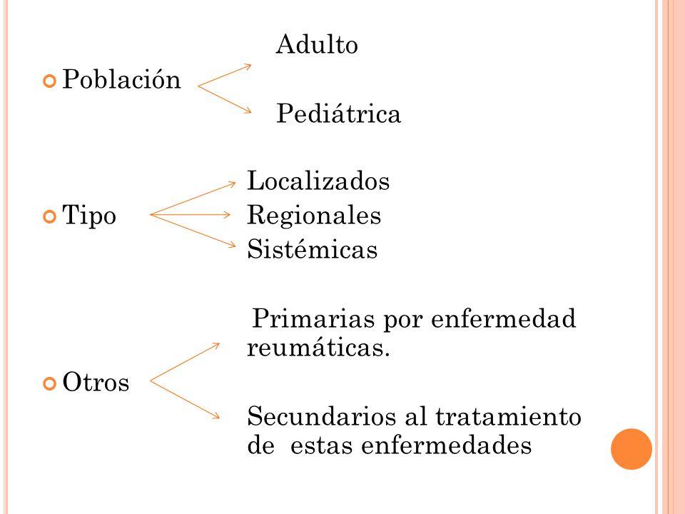 Adulto Población Pediátrica Localizados TipoRegionales Sistémicas Primarias por enfermedad reumáticas. Otros Secundarios al tratamiento de estas enfer