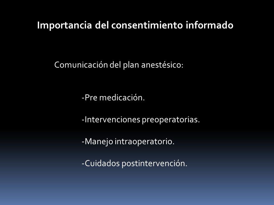 Importancia del consentimiento informado Comunicación del plan anestésico: -Pre medicación. -Intervenciones preoperatorias. -Manejo intraoperatorio. -