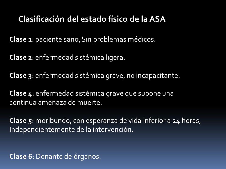 Clasificación del estado físico de la ASA Clase 1: paciente sano, Sin problemas médicos. Clase 2: enfermedad sistémica ligera. Clase 3: enfermedad sis