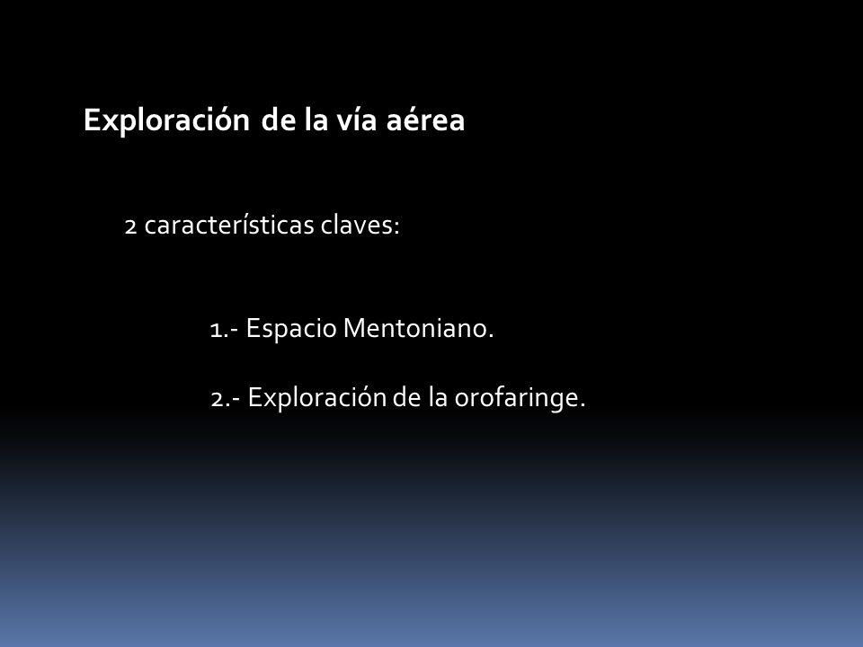 Exploración de la vía aérea 2 características claves: 1.- Espacio Mentoniano. 2.- Exploración de la orofaringe.