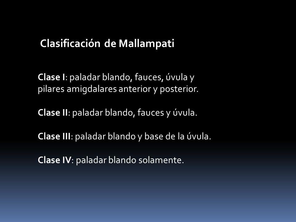 Clasificación de Mallampati Clase I: paladar blando, fauces, úvula y pilares amigdalares anterior y posterior. Clase II: paladar blando, fauces y úvul