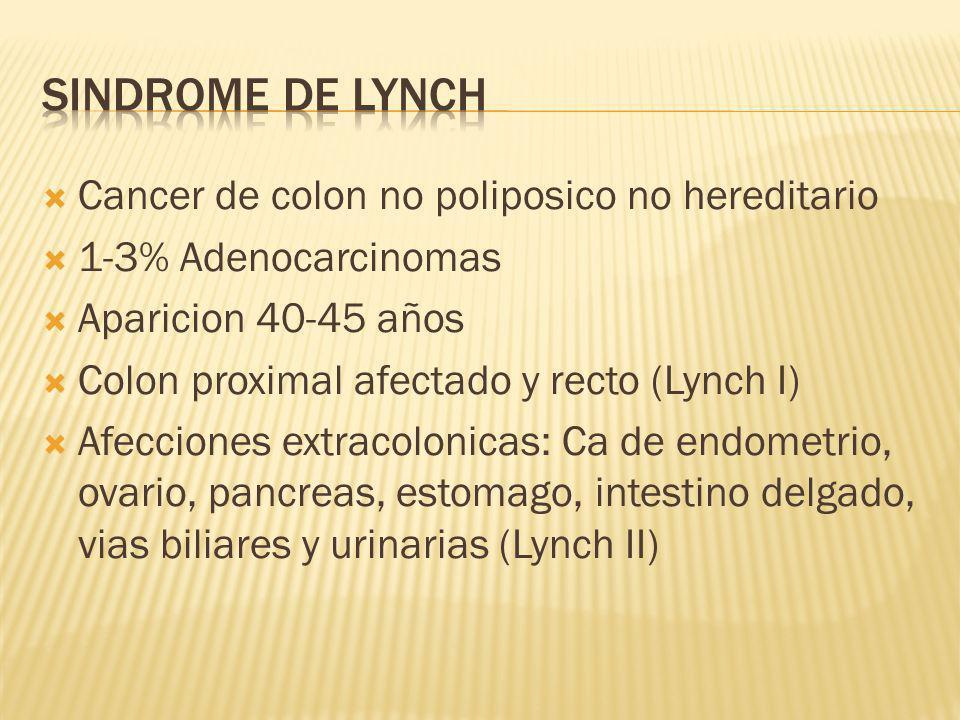 Cancer de colon no poliposico no hereditario 1-3% Adenocarcinomas Aparicion 40-45 años Colon proximal afectado y recto (Lynch I) Afecciones extracolon