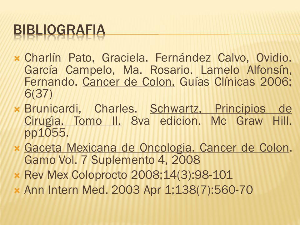 Charlín Pato, Graciela. Fernández Calvo, Ovidio. García Campelo, Ma. Rosario. Lamelo Alfonsín, Fernando. Cancer de Colon. Guías Clínicas 2006; 6(37) B