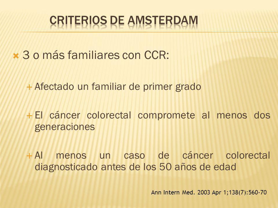 3 o más familiares con CCR: Afectado un familiar de primer grado El cáncer colorectal compromete al menos dos generaciones Al menos un caso de cáncer