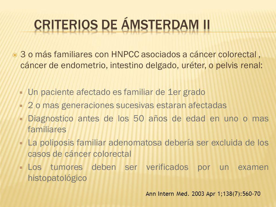 3 o más familiares con HNPCC asociados a cáncer colorectal, cáncer de endometrio, intestino delgado, uréter, o pelvis renal: Un paciente afectado es f