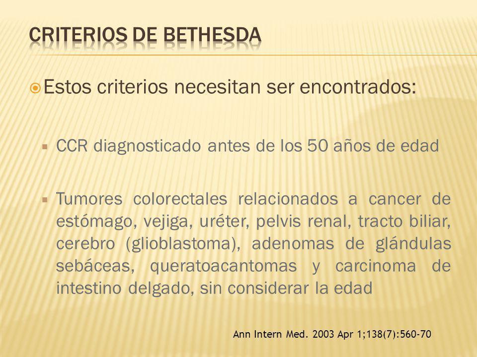 Estos criterios necesitan ser encontrados: CCR diagnosticado antes de los 50 años de edad Tumores colorectales relacionados a cancer de estómago, veji
