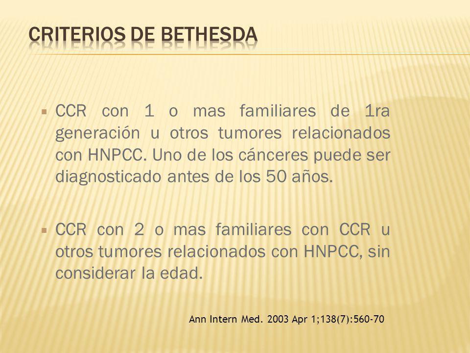 CCR con 1 o mas familiares de 1ra generación u otros tumores relacionados con HNPCC. Uno de los cánceres puede ser diagnosticado antes de los 50 años.