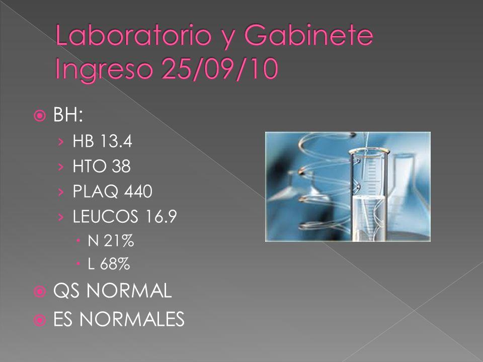 BH: HB 13.4 HTO 38 PLAQ 440 LEUCOS 16.9 N 21% L 68% QS NORMAL ES NORMALES