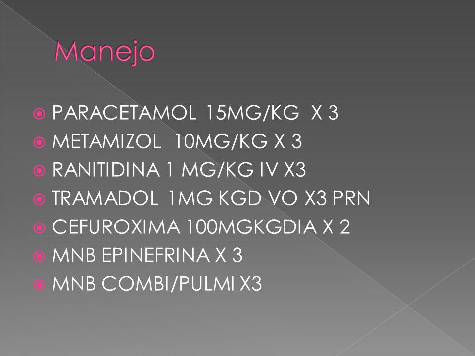 PARACETAMOL 15MG/KG X 3 METAMIZOL 10MG/KG X 3 RANITIDINA 1 MG/KG IV X3 TRAMADOL 1MG KGD VO X3 PRN CEFUROXIMA 100MGKGDIA X 2 MNB EPINEFRINA X 3 MNB COMBI/PULMI X3