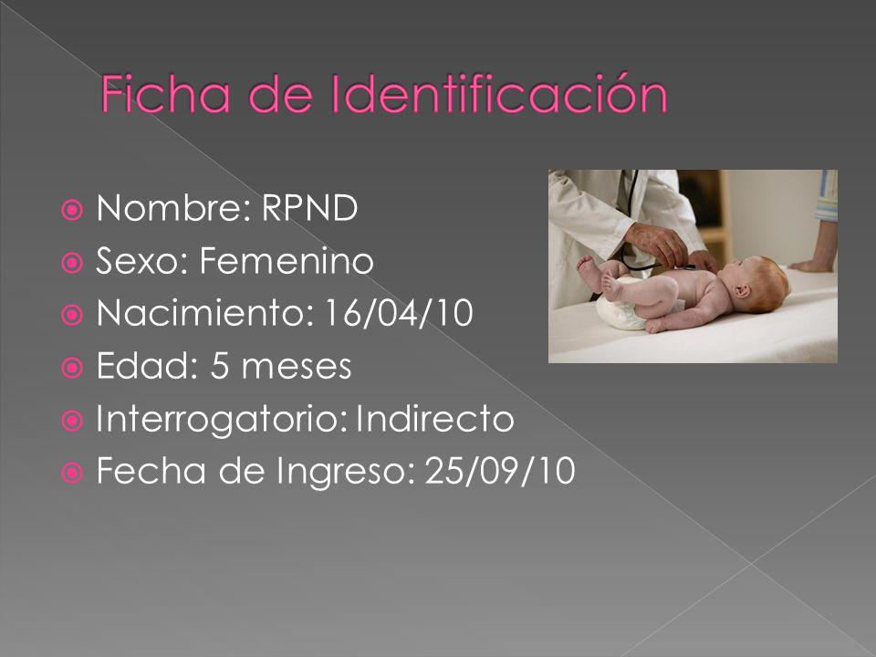 Nombre: RPND Sexo: Femenino Nacimiento: 16/04/10 Edad: 5 meses Interrogatorio: Indirecto Fecha de Ingreso: 25/09/10