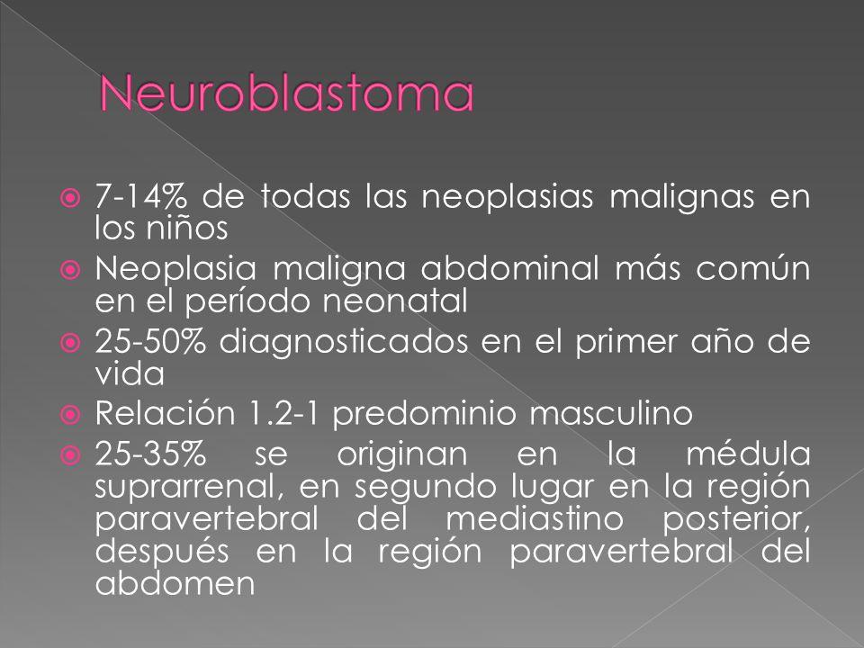 7-14% de todas las neoplasias malignas en los niños Neoplasia maligna abdominal más común en el período neonatal 25-50% diagnosticados en el primer año de vida Relación 1.2-1 predominio masculino 25-35% se originan en la médula suprarrenal, en segundo lugar en la región paravertebral del mediastino posterior, después en la región paravertebral del abdomen