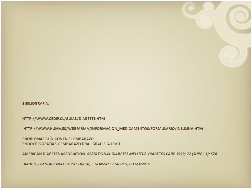 BIBILIOGRAFIA: HTTP://WWW.CEDIP.CL/GUIAS/DIABETES.HTM HTTP://WWW.HUMV.ES/WEBFARMA/INFORMACION_MEDICAMENTOS/FORMULARIO/INSULINA.HTM PROBLEMAS CLÍNICOS