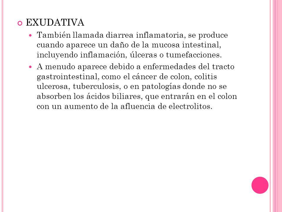 EXUDATIVA También llamada diarrea inflamatoria, se produce cuando aparece un daño de la mucosa intestinal, incluyendo inflamación, úlceras o tumefacci