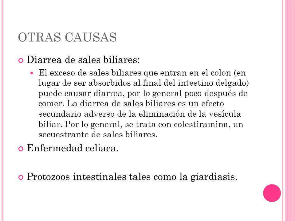 OTRAS CAUSAS Diarrea de sales biliares: El exceso de sales biliares que entran en el colon (en lugar de ser absorbidos al final del intestino delgado)