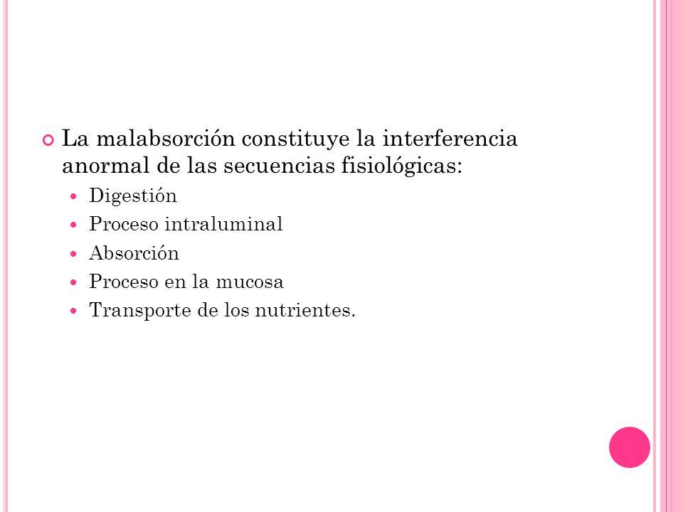 La malabsorción constituye la interferencia anormal de las secuencias fisiológicas: Digestión Proceso intraluminal Absorción Proceso en la mucosa Tran
