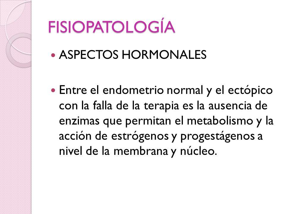 FISIOPATOLOGÍA ASPECTOS HORMONALES Entre el endometrio normal y el ectópico con la falla de la terapia es la ausencia de enzimas que permitan el metab