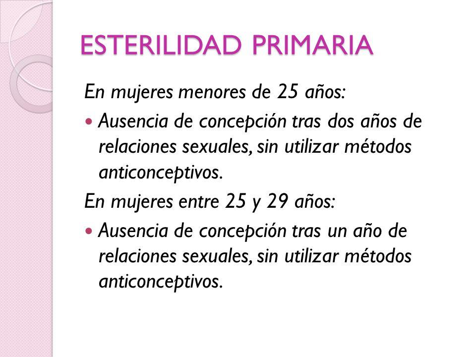 ESTERILIDAD PRIMARIA En mujeres menores de 25 años: Ausencia de concepción tras dos años de relaciones sexuales, sin utilizar métodos anticonceptivos.