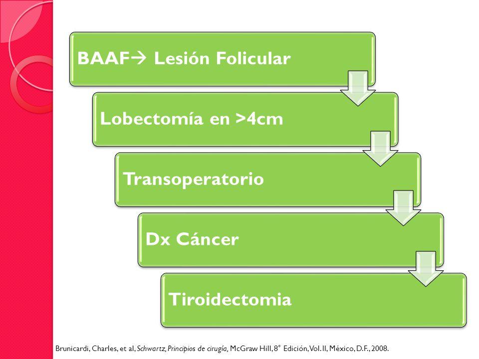 BAAF Lesión FolicularLobectomía en >4cmTransoperatorioDx CáncerTiroidectomia Brunicardi, Charles, et al, Schwartz, Principios de cirugía, McGraw Hill,