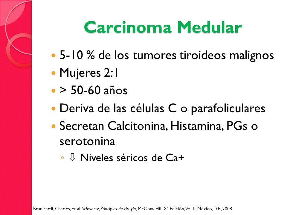 Carcinoma Medular 5-10 % de los tumores tiroideos malignos Mujeres 2:1 > 50-60 años Deriva de las células C o parafoliculares Secretan Calcitonina, Hi