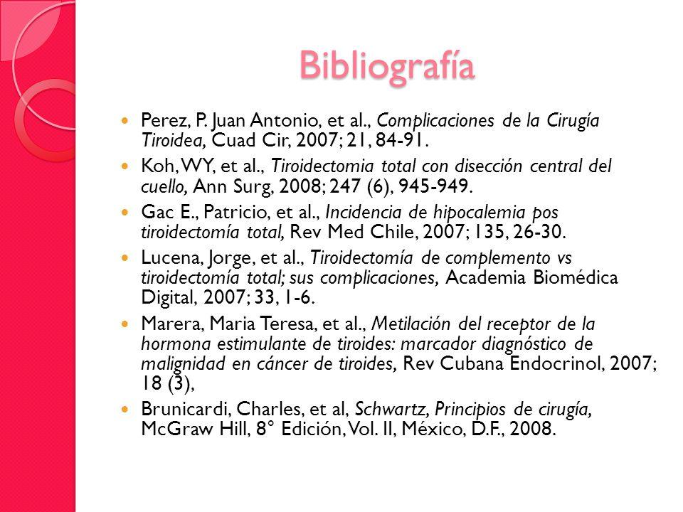 Bibliografía Perez, P. Juan Antonio, et al., Complicaciones de la Cirugía Tiroidea, Cuad Cir, 2007; 21, 84-91. Koh, WY, et al., Tiroidectomia total co
