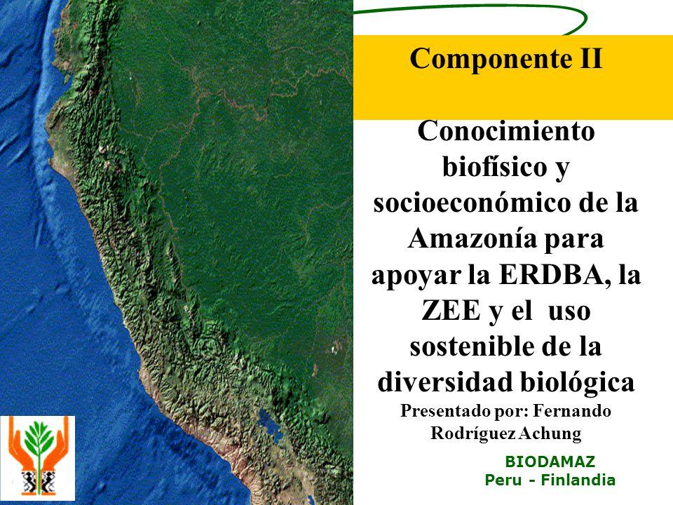 iiap BIODAMAZ Peru - Finlandia Componente II Conocimiento biofísico y socioeconómico de la Amazonía para apoyar la ERDBA, la ZEE y el uso sostenible de la diversidad biológica Presentado por: Fernando Rodríguez Achung