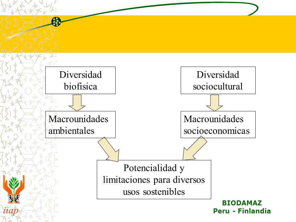 iiap BIODAMAZ Peru - Finlandia Diversidad biofisica Diversidad sociocultural Potencialidad y limitaciones para diversos usos sostenibles Macrounidades ambientales Macrounidades socioeconomicas