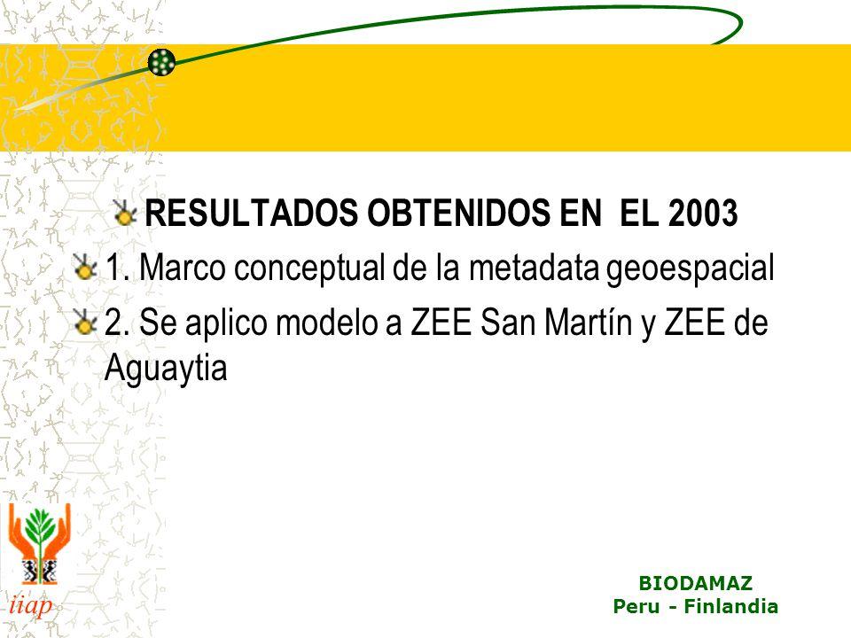 iiap BIODAMAZ Peru - Finlandia RESULTADOS OBTENIDOS EN EL 2003 1. Marco conceptual de la metadata geoespacial 2. Se aplico modelo a ZEE San Martín y Z
