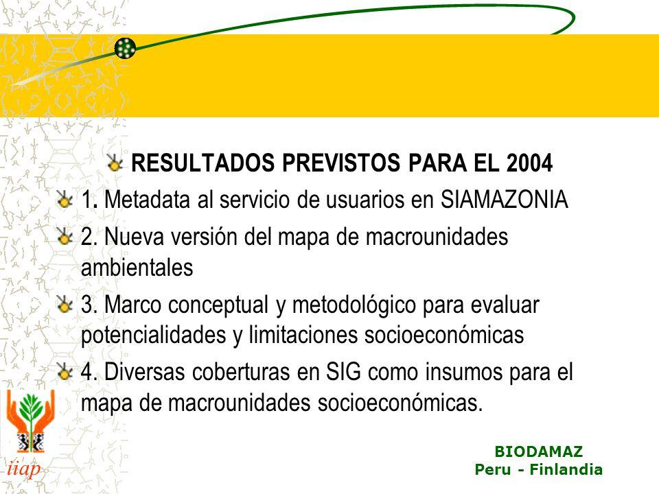 iiap BIODAMAZ Peru - Finlandia RESULTADOS PREVISTOS PARA EL 2004 1. Metadata al servicio de usuarios en SIAMAZONIA 2. Nueva versión del mapa de macrou