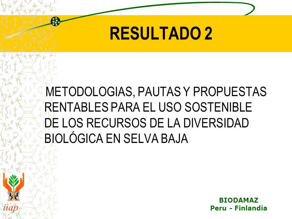 iiap BIODAMAZ Peru - Finlandia RESULTADO 2 METODOLOGIAS, PAUTAS Y PROPUESTAS RENTABLES PARA EL USO SOSTENIBLE DE LOS RECURSOS DE LA DIVERSIDAD BIOLÓGI