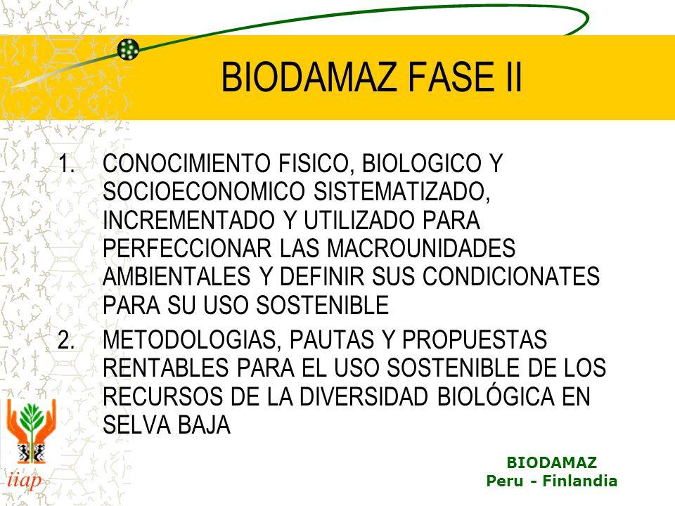 iiap BIODAMAZ Peru - Finlandia BIODAMAZ FASE II 1.CONOCIMIENTO FISICO, BIOLOGICO Y SOCIOECONOMICO SISTEMATIZADO, INCREMENTADO Y UTILIZADO PARA PERFECCIONAR LAS MACROUNIDADES AMBIENTALES Y DEFINIR SUS CONDICIONATES PARA SU USO SOSTENIBLE 2.METODOLOGIAS, PAUTAS Y PROPUESTAS RENTABLES PARA EL USO SOSTENIBLE DE LOS RECURSOS DE LA DIVERSIDAD BIOLÓGICA EN SELVA BAJA