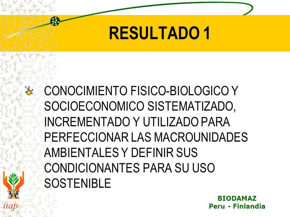 iiap BIODAMAZ Peru - Finlandia RESULTADO 1 CONOCIMIENTO FISICO-BIOLOGICO Y SOCIOECONOMICO SISTEMATIZADO, INCREMENTADO Y UTILIZADO PARA PERFECCIONAR LA
