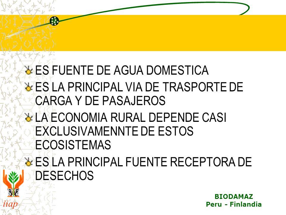 iiap BIODAMAZ Peru - Finlandia ES FUENTE DE AGUA DOMESTICA ES LA PRINCIPAL VIA DE TRASPORTE DE CARGA Y DE PASAJEROS LA ECONOMIA RURAL DEPENDE CASI EXCLUSIVAMENNTE DE ESTOS ECOSISTEMAS ES LA PRINCIPAL FUENTE RECEPTORA DE DESECHOS
