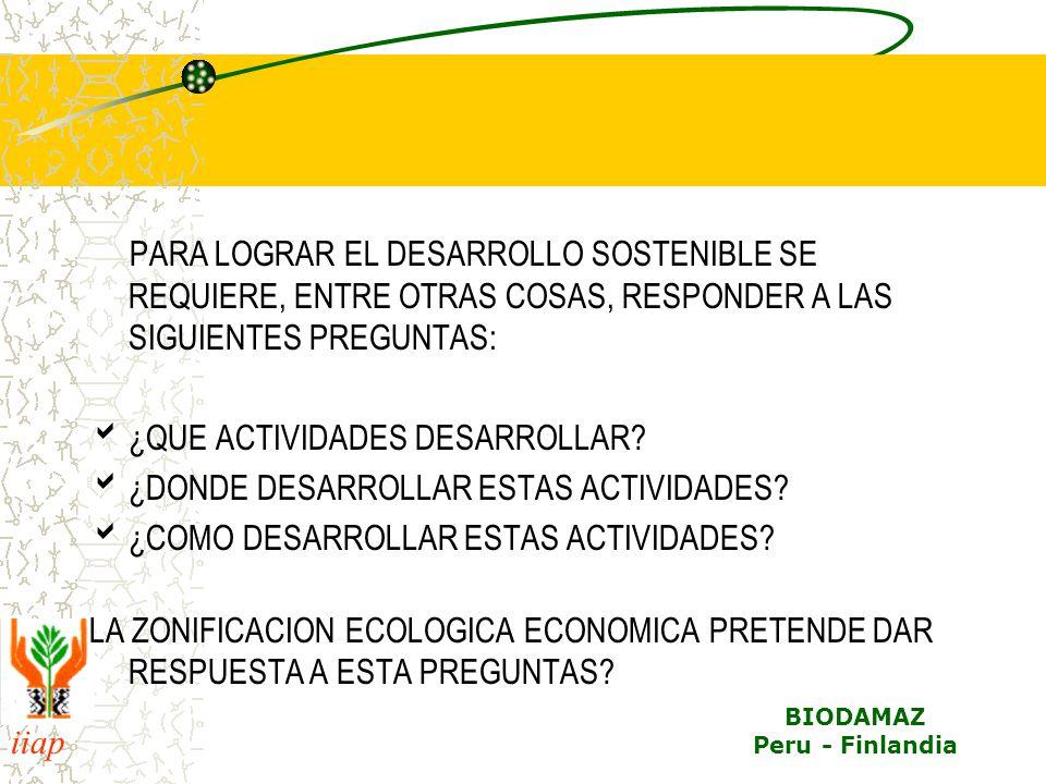 iiap BIODAMAZ Peru - Finlandia RESUMEN DE LA IMPORTANCIA SOCIOECONOMICA EL 80% DE LA ACTIVIDAD AGRÍCOLA DE LA SELVA BAJA SE LOCALIZA EN ÁREAS INUNDABLES ES LA APRINCIPAL FUENTE DE PROTEINA ANIMAL (40% ES APORTADA POR LA PESCA).