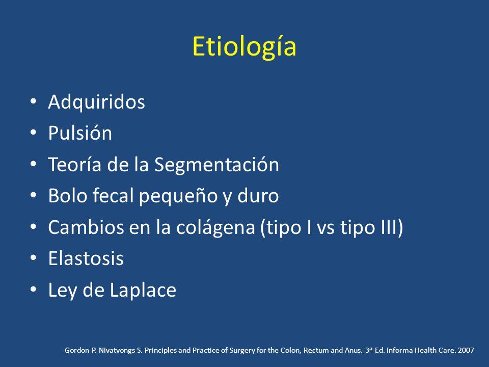 Etiología Adquiridos Pulsión Teoría de la Segmentación Bolo fecal pequeño y duro Cambios en la colágena (tipo I vs tipo III) Elastosis Ley de Laplace