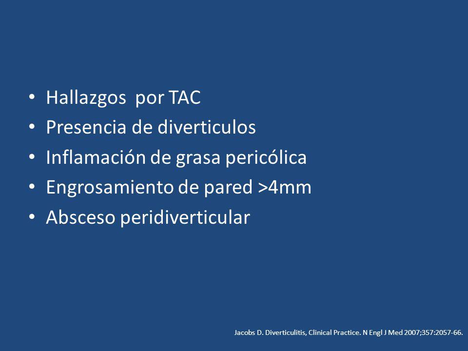 Hallazgos por TAC Presencia de diverticulos Inflamación de grasa pericólica Engrosamiento de pared >4mm Absceso peridiverticular Jacobs D. Diverticuli