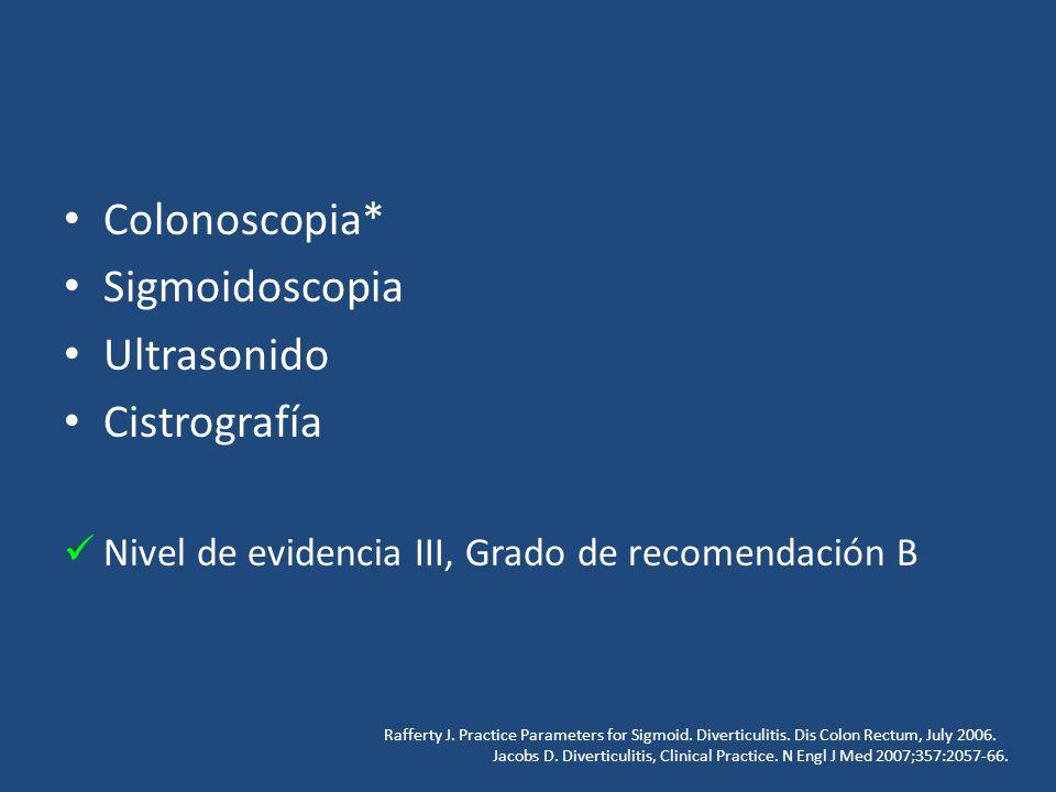 Colonoscopia* Sigmoidoscopia Ultrasonido Cistrografía Nivel de evidencia III, Grado de recomendación B Rafferty J. Practice Parameters for Sigmoid. Di