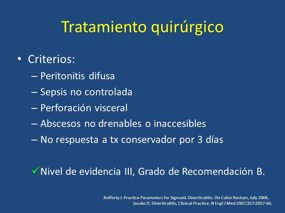 Tratamiento quirúrgico Criterios: – Peritonitis difusa – Sepsis no controlada – Perforación visceral – Abscesos no drenables o inaccesibles – No respu