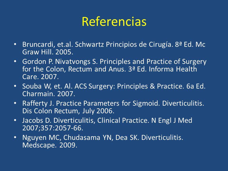 Referencias Bruncardi, et.al. Schwartz Principios de Cirugía. 8ª Ed. Mc Graw Hill. 2005. Gordon P. Nivatvongs S. Principles and Practice of Surgery fo